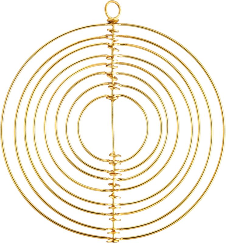 """<span class=""""copyHeader"""">hypnotic holiday.</span> Creating a sense of modern movement, celestial sculpture suspends concentric rings to 3D effect. Handcrafted of iron with gleaming brass finish, ornament is out of this world in multiples on the tree or mantel.<br /><br /><NEWTAG/><ul><li>Handcrafted iron with brass finish</li><li>Wipe clean with damp cloth</li></ul>"""