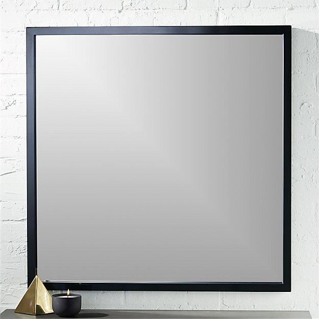 "gallery black 33"" square wall mirror"