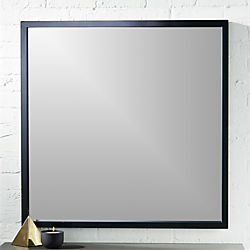 "gallery black 33"" square wall mirror"