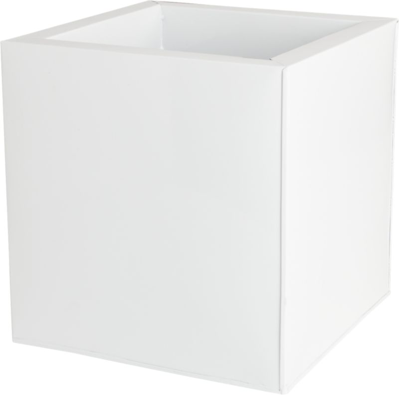 galvanized high gloss white medium planter
