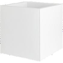 blox large square galvanized high-gloss white planter