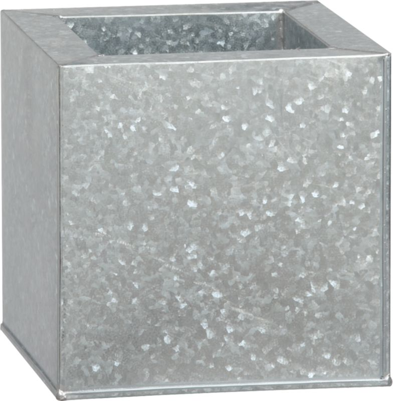 small galvanized square planter