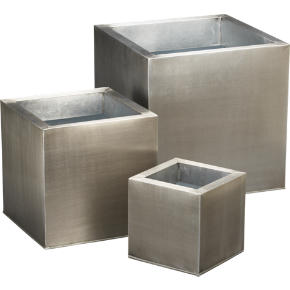 galvanized planters shopping in CB2 to decorate from cb2.com