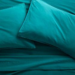 garment washed teal cotton sheet sets