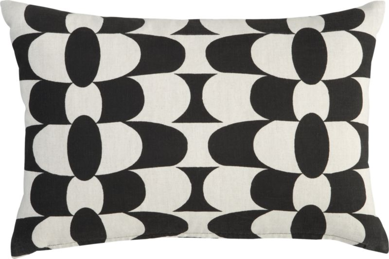 "geo mod black and natural 18""x12"" pillow"