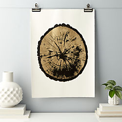 gilded wood slice print