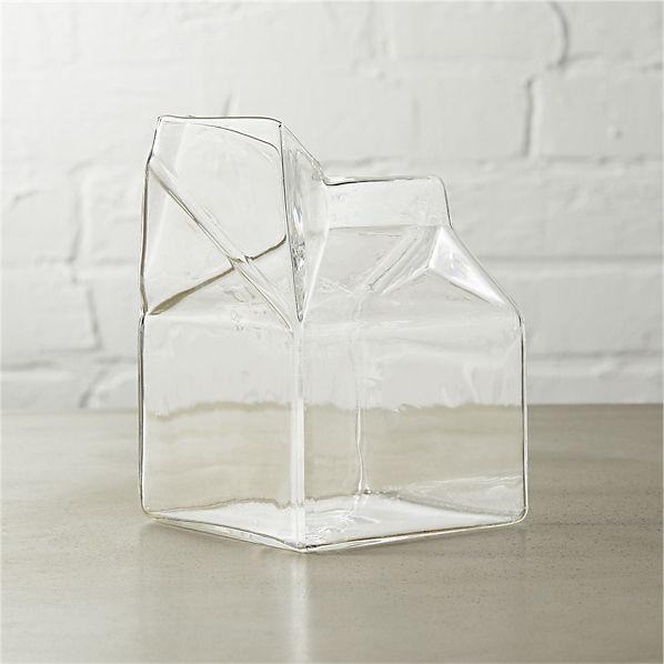 GlassMilkCartonCreamer10ozROF16