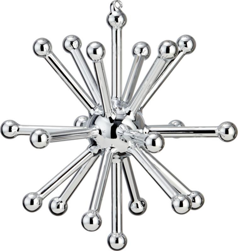 glass sputnik silver large ornament