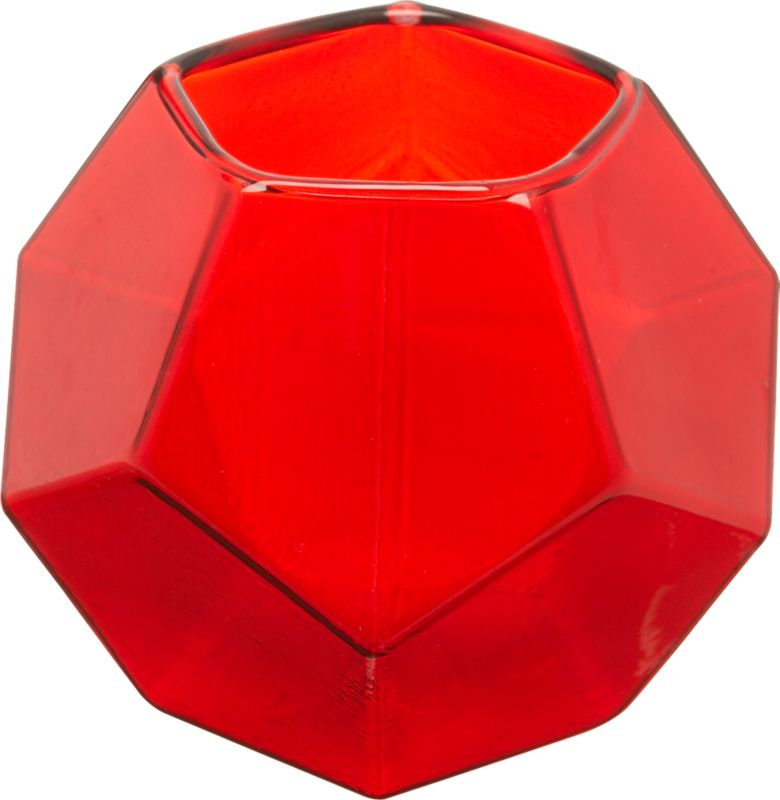 red ruby glass candleholder