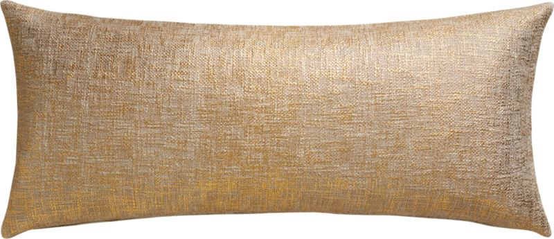 "glitterati gold 36""x16"" pillow with down-alternative insert"