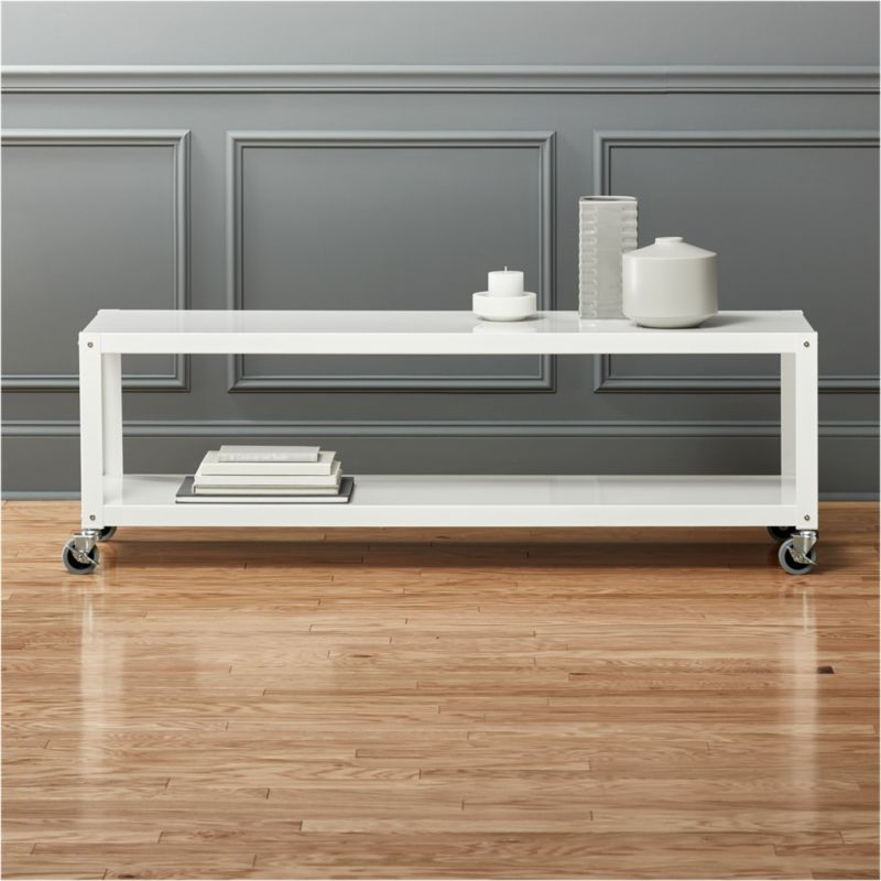 Go Cart White Rolling Tv Stand Coffee Table Cb2