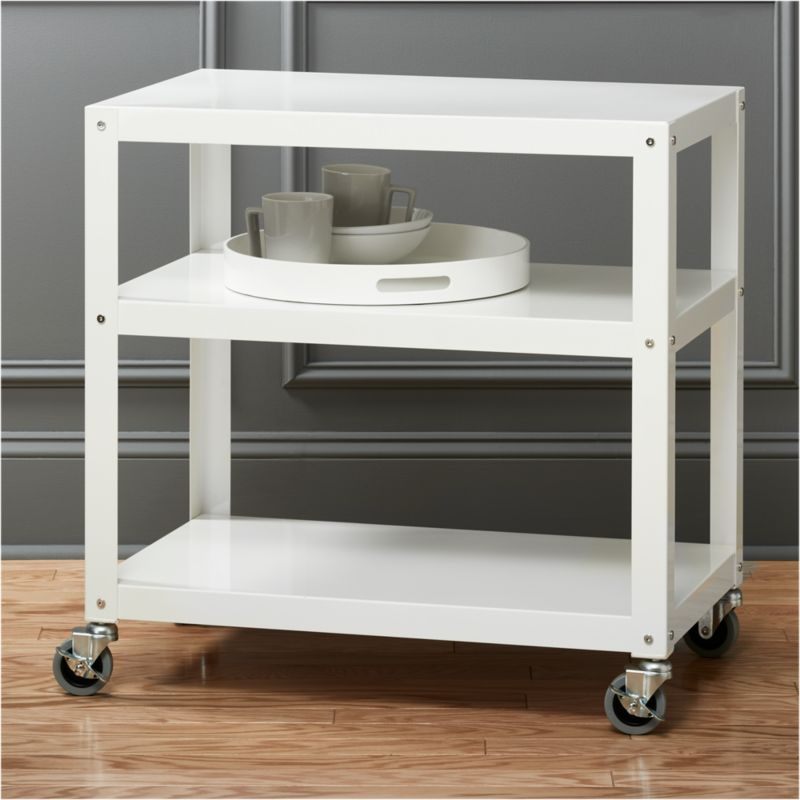 "Rolling Coffee Table With Storage: Go-cart White 30""x18"" Rolling Cart"