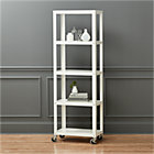 go-cart white five-shelf rolling bookcase.