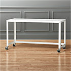 go-cart white rolling console table.