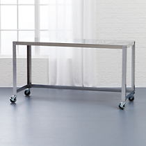 go-cart stainless rolling console table