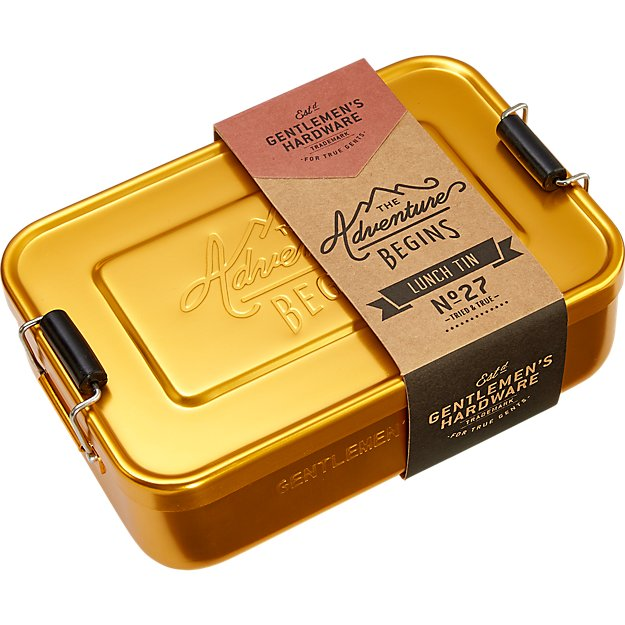 gentlemen's hardware gold lunch box tin