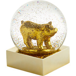 gold pig snowglobe