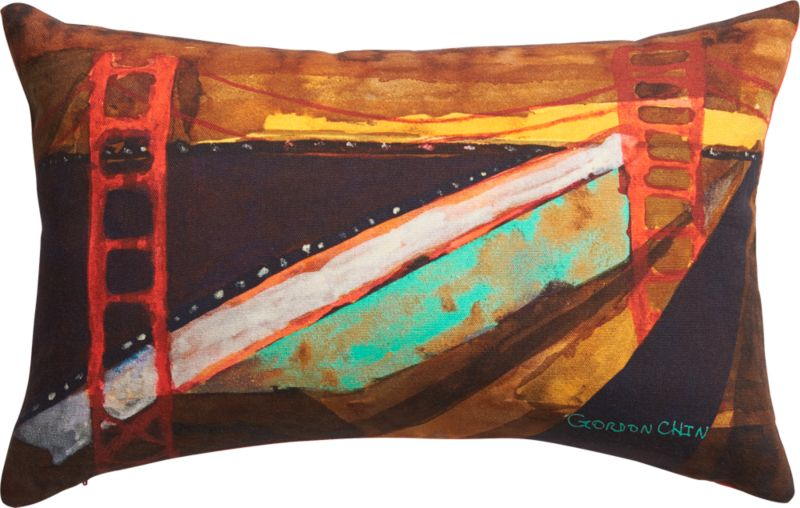 "golden gate bridge 18""x12"" pillow with down-alternative insert"