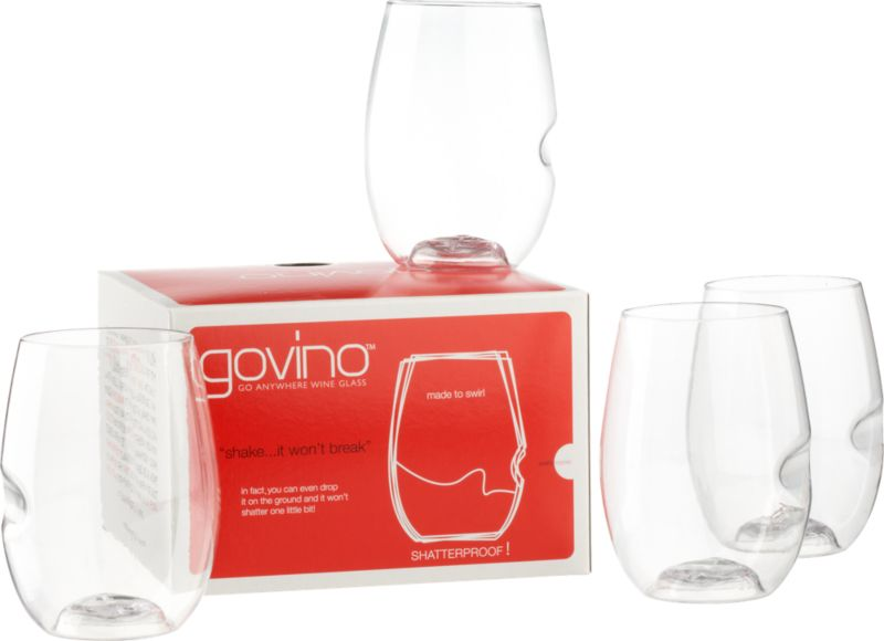 set of 4 govino stemless wine glasses