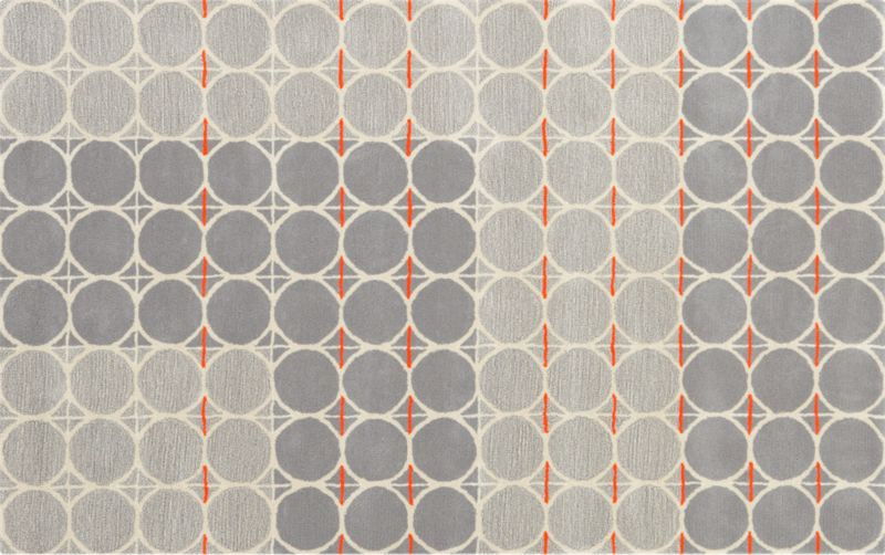 grey dot with orange rug 5'x8'