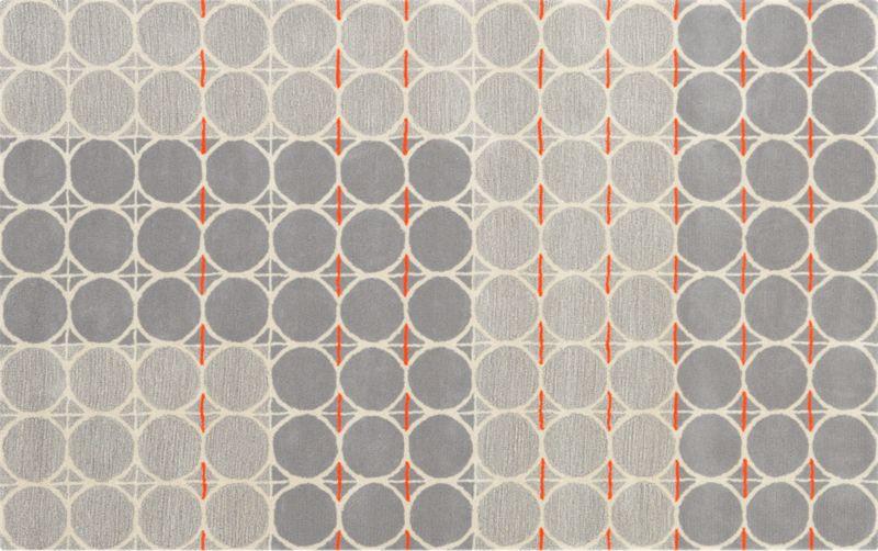 grey dot with orange rug 5'x8'