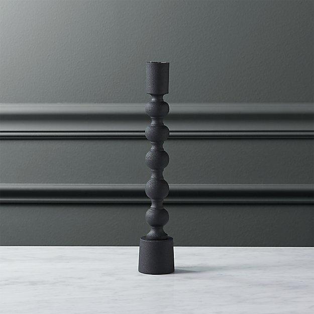 halo matte black taper candle holder