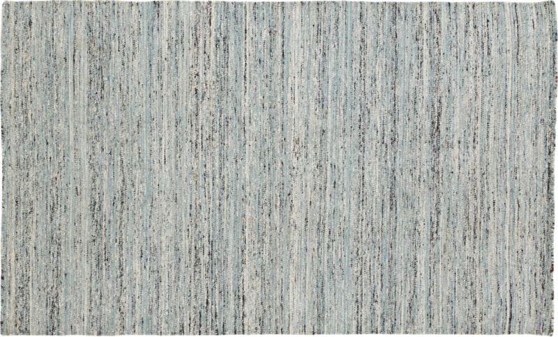 handwoven recycled sari grey rug 5'x8'