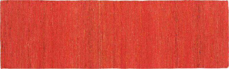 handwoven recycled sari orange runner 2.5'x8'