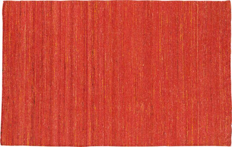 handwoven recycled sari orange rug 5'x8'