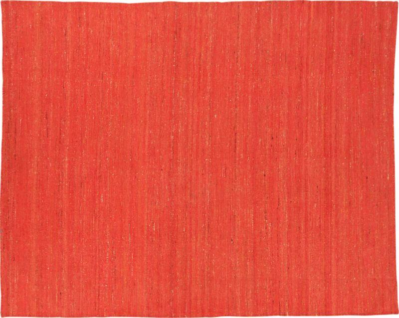 handwoven recycled sari orange rug 8'x10'