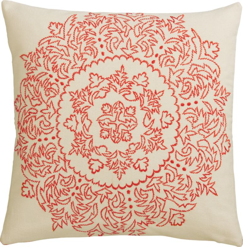 henna embroidered pillow with feather-down insert