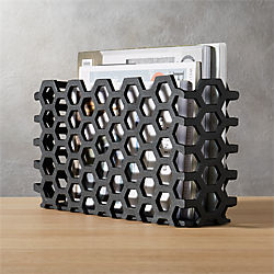 hex black magazine basket