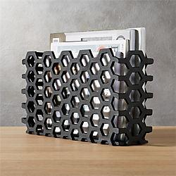 hex black magazine basket