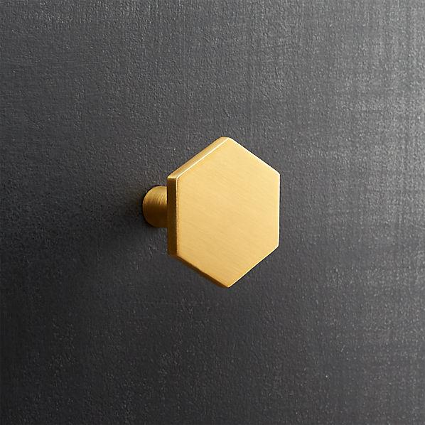Hex Brushed Brass Drawer Pull Cb2