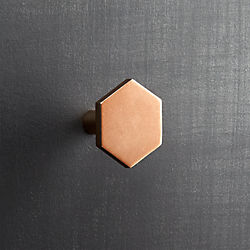hex shiny copper knob