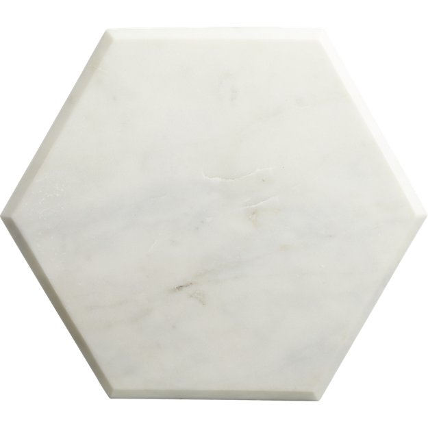 "hex 14""x12"" white marble board"