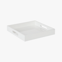 high-gloss small square white tray