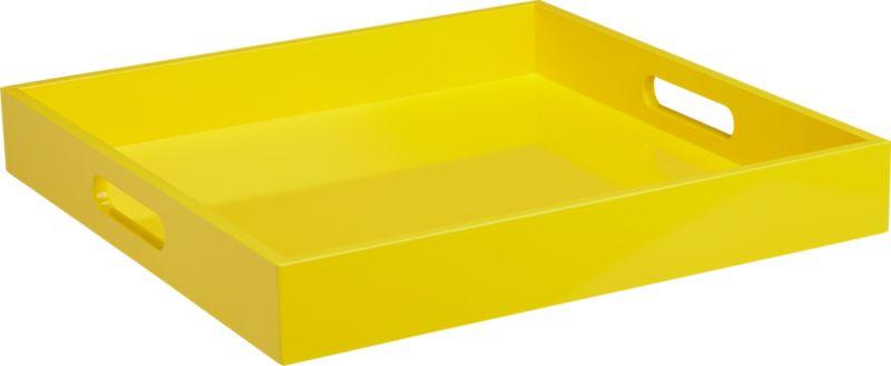 square hi-gloss yellow tray
