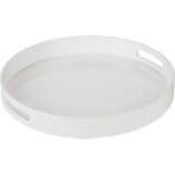 high-gloss round white tray
