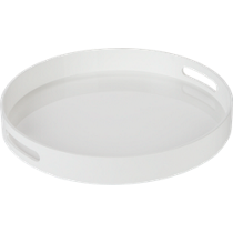 high-gloss round white tray