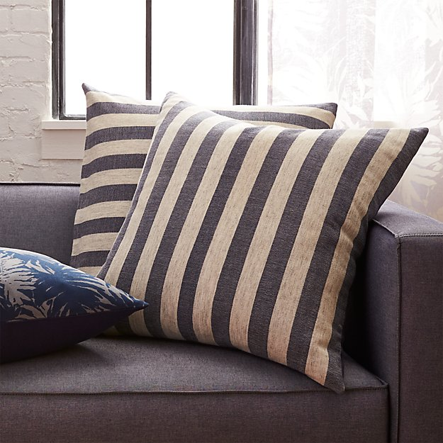 "The Hill-Side grey and navy stripes 23"" pillow"