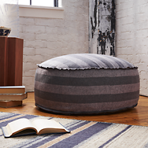 The Hill-Side grey and navy stripes pouf