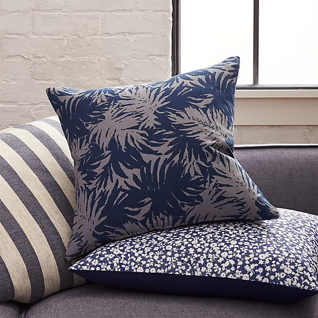 "The Hill-Side palm leaves 18"" pillow with down-alternative insert"