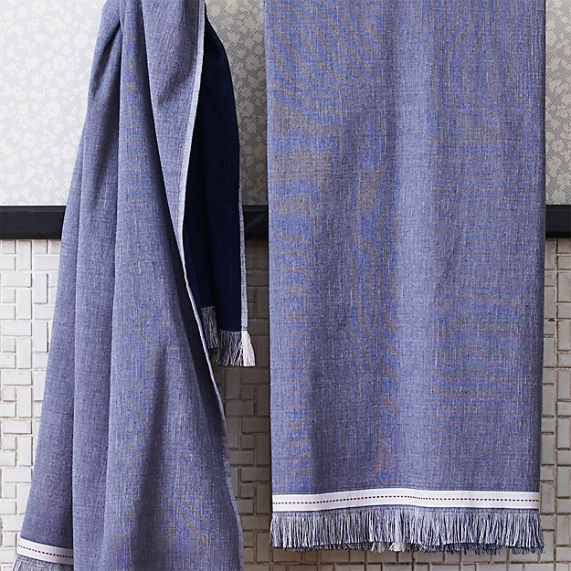 The Hill-Side selvedge navy bath towel