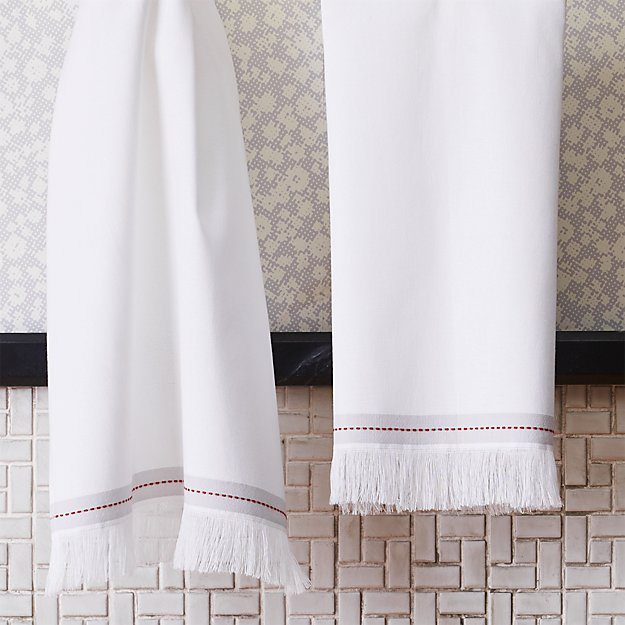 The Hill-Side selvedge white hand towel.