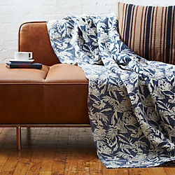 The Hill-Side tropical leaves linen throw
