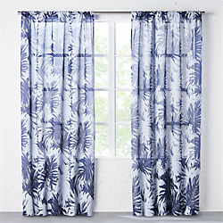 the hill-side palm leaves sheer navy curtain panel