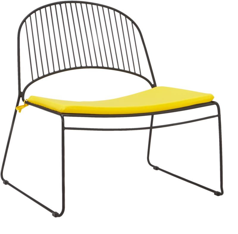humpback matte black lounge chair with yellow seat cushion