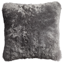 "icelandic shorn sheepskin grey 16"" pillow"