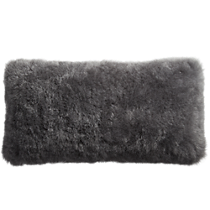 "icelandic shorn sheepskin grey 23""x11"" pillow"